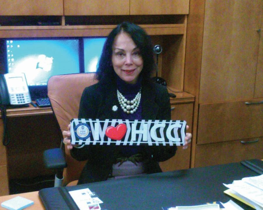 Dr. Sorenson shows off her HCC pride. She brings a wealth of experience to her position.