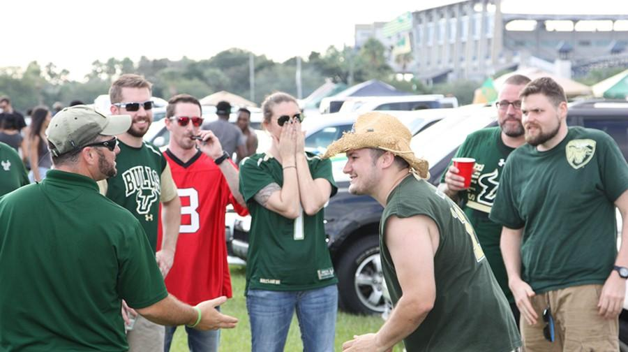 USF students gather early for the tailgaiting festivites.