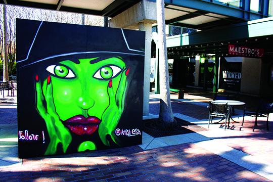 Wicked street art outside the Straz Theater provides additional ambiance.