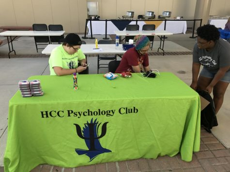 The Psychology Club setting up their table for The Welcome Back event