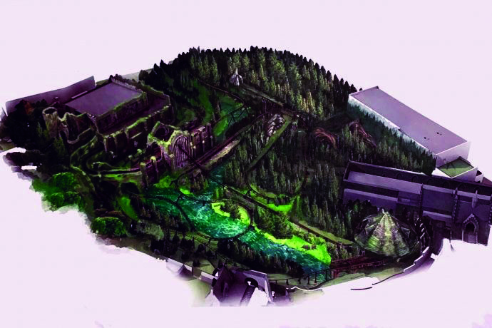 An artist rendering shows the details of the new coaster coming to Hogsemede.