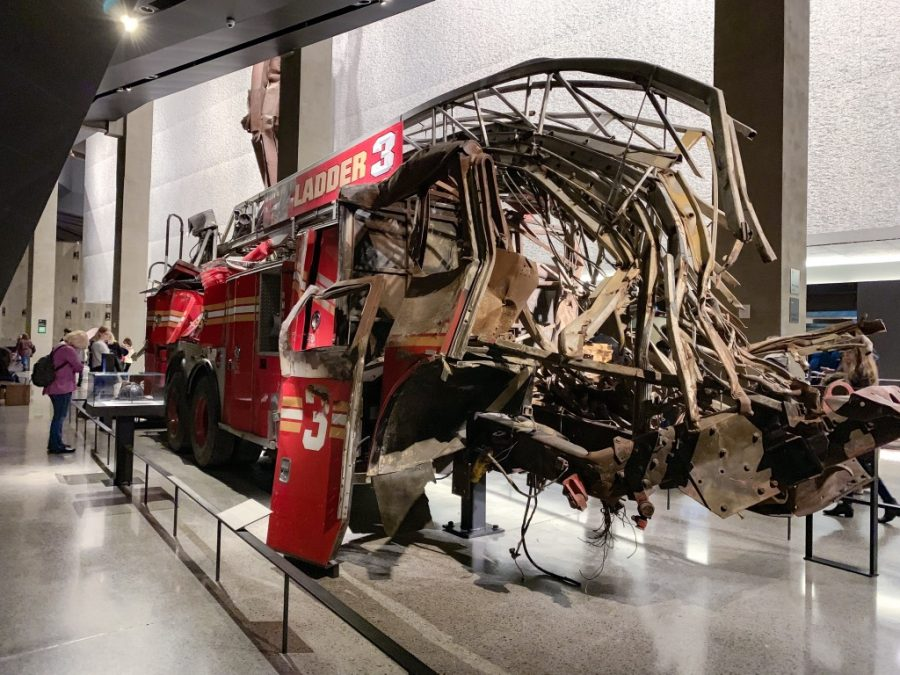 Ladder Truck 3 sits right between the base of the Twin Towers. It was one of the first trucks to respond to the scene.