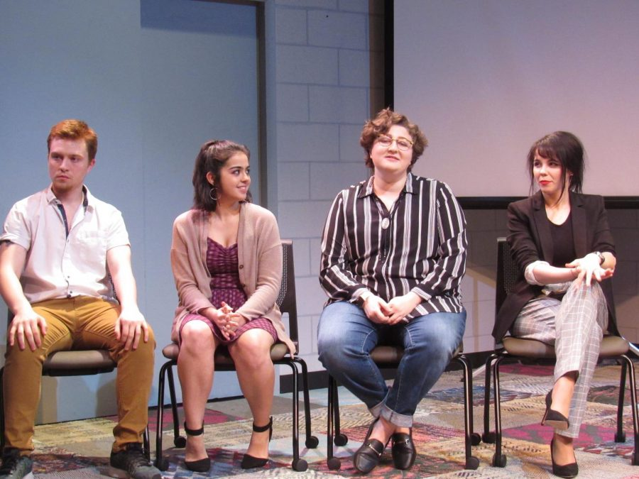 Cast members Orion Flannagan, Linda Maymi-Rivas, Jes Katz and Margarita Ferndez answering questions from the audience