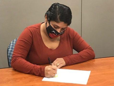 """Alejandra Hernandez won  first prize for her essay, """"The Aftershocks."""""""